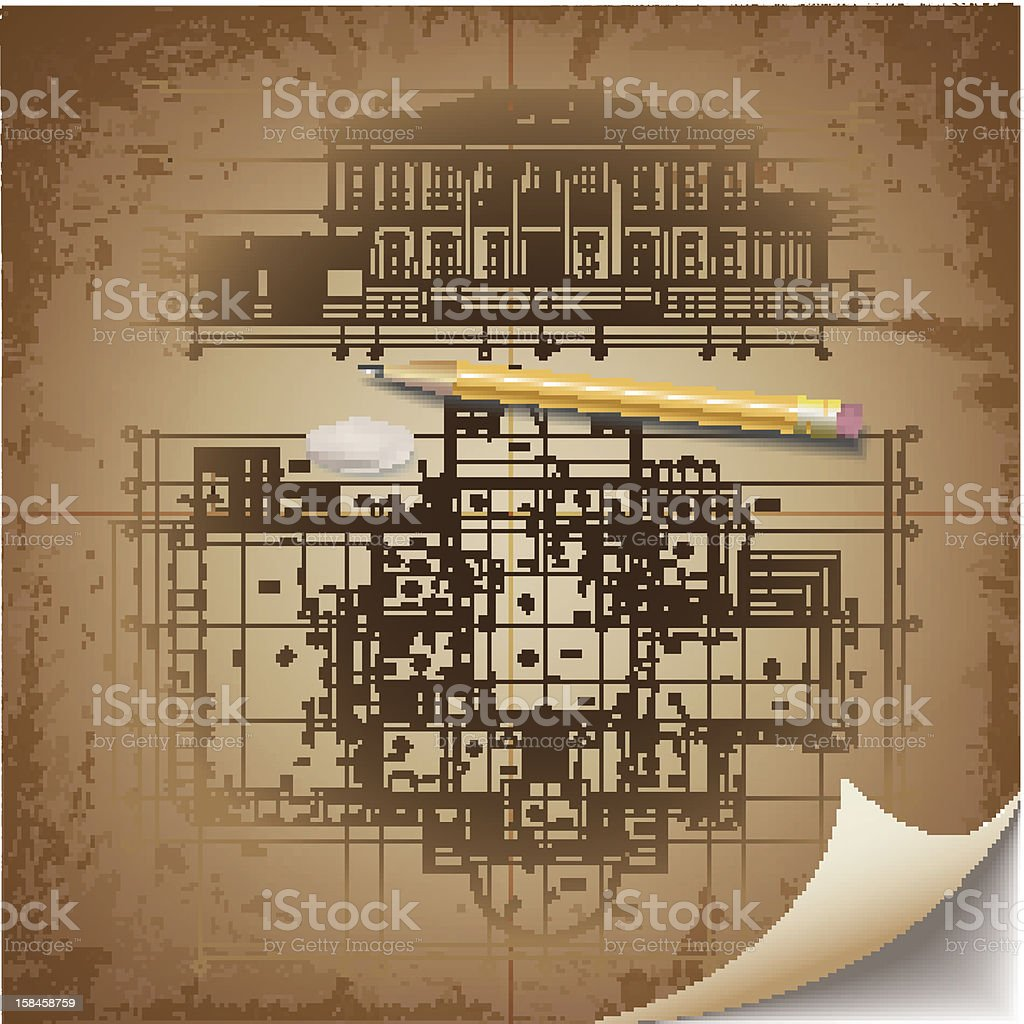 Grunge architectural background royalty-free stock vector art