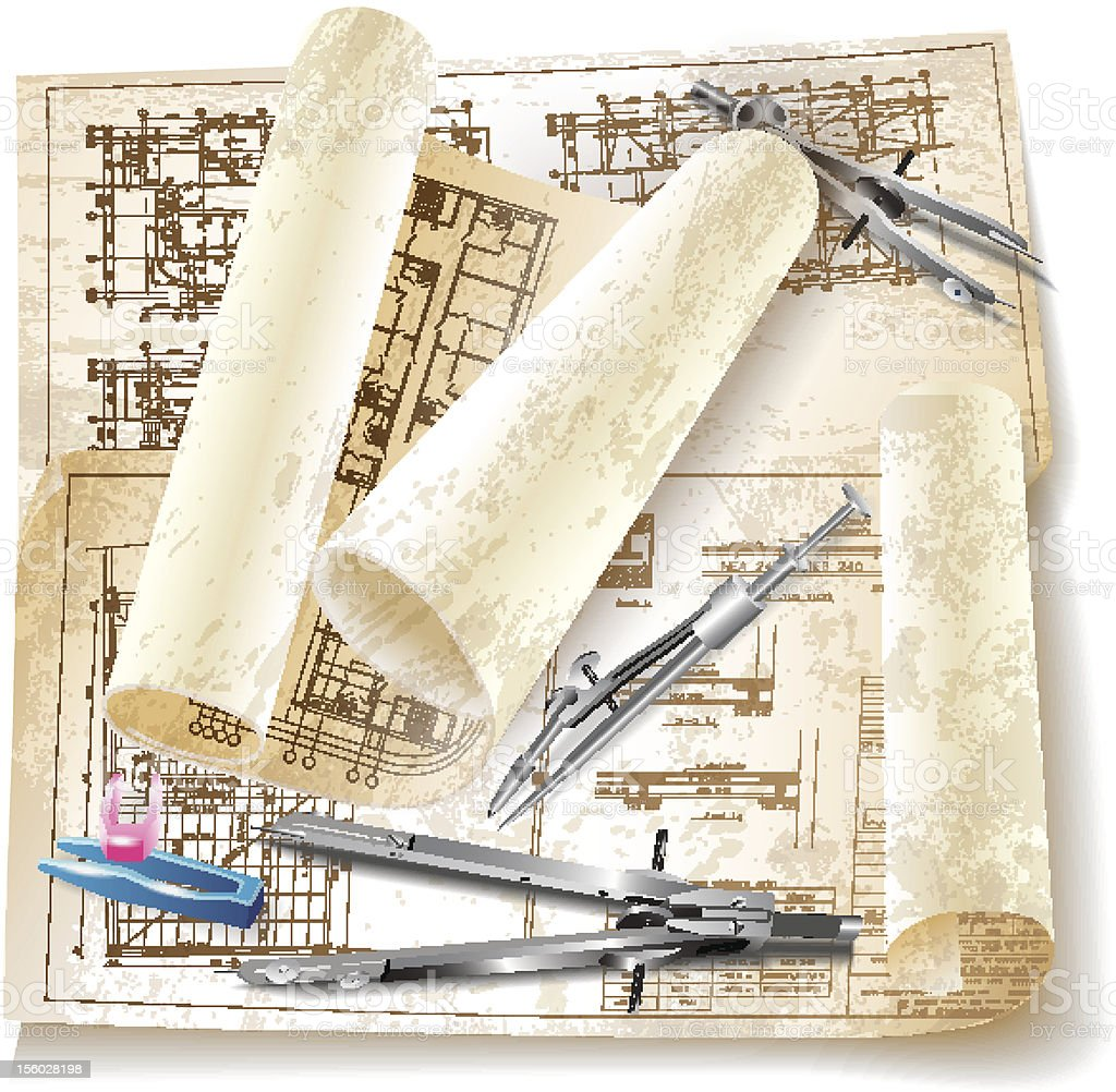 Grunge architectural background with rolls of drawings royalty-free stock vector art
