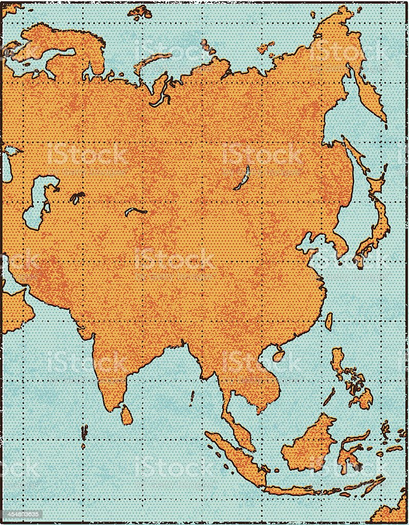Grunge Asia map vector art illustration