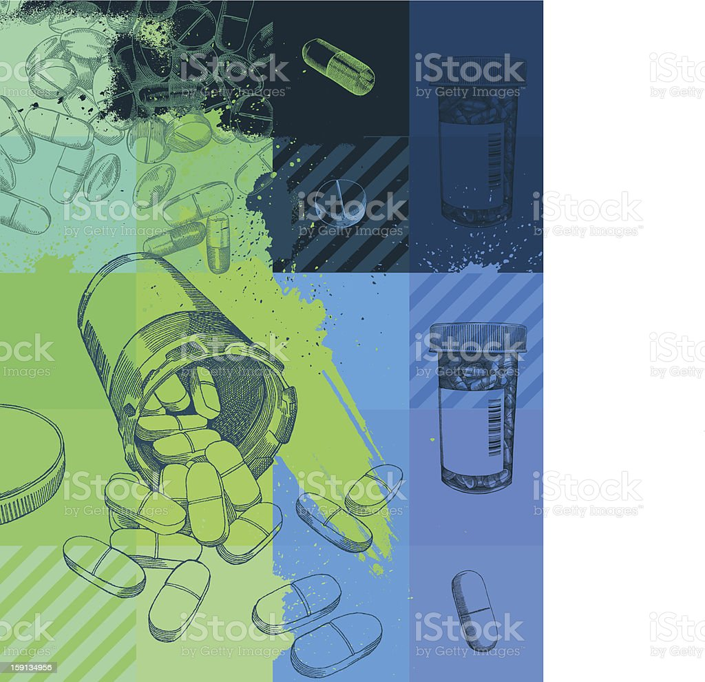 A grunge background of pharmaceuticals royalty-free stock vector art