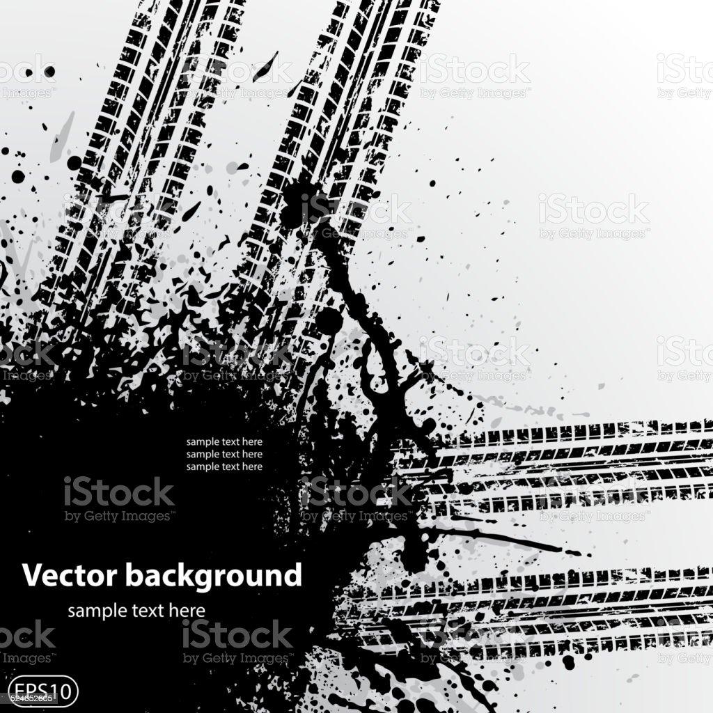Grunge background tire track vector art illustration