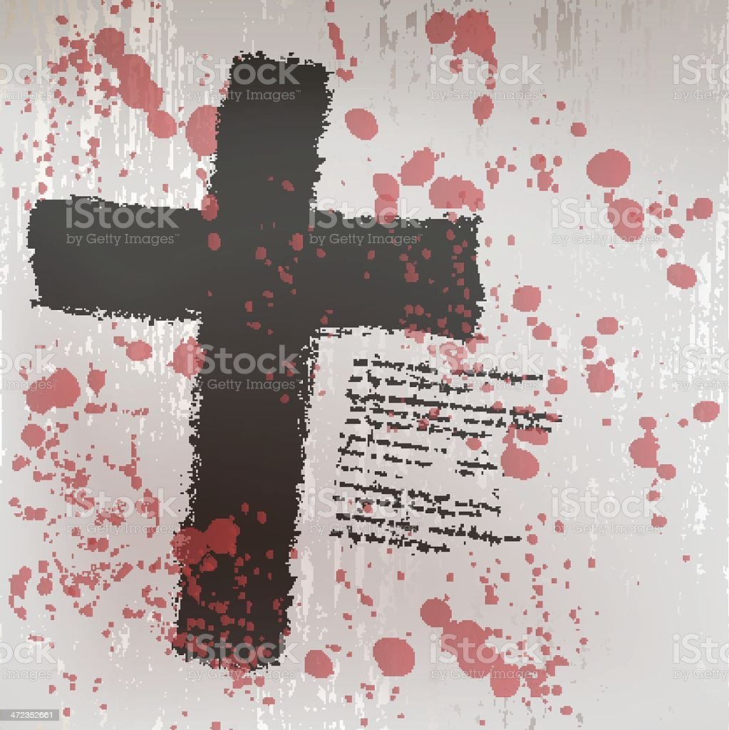 Grunge background with black cross vector royalty-free stock vector art