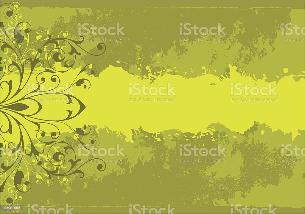 Grunge background with floral ornament royalty-free stock vector art