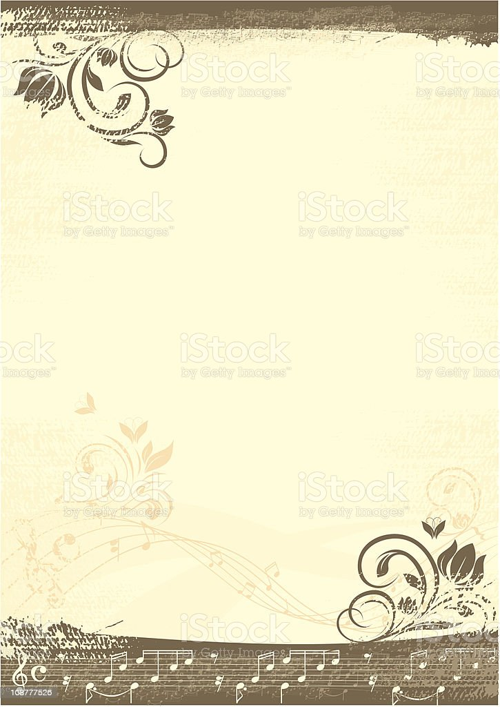 Grunge background with musical graphics royalty-free stock vector art