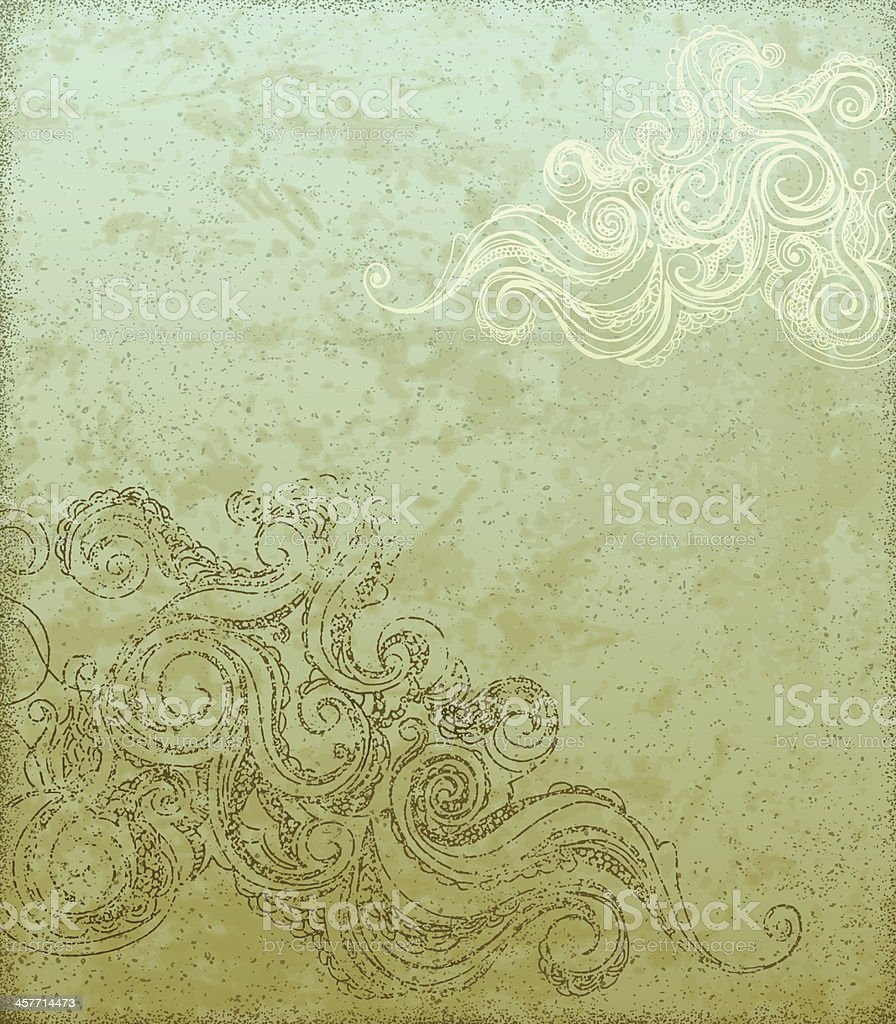 Grunge Background with Swirls royalty-free stock vector art