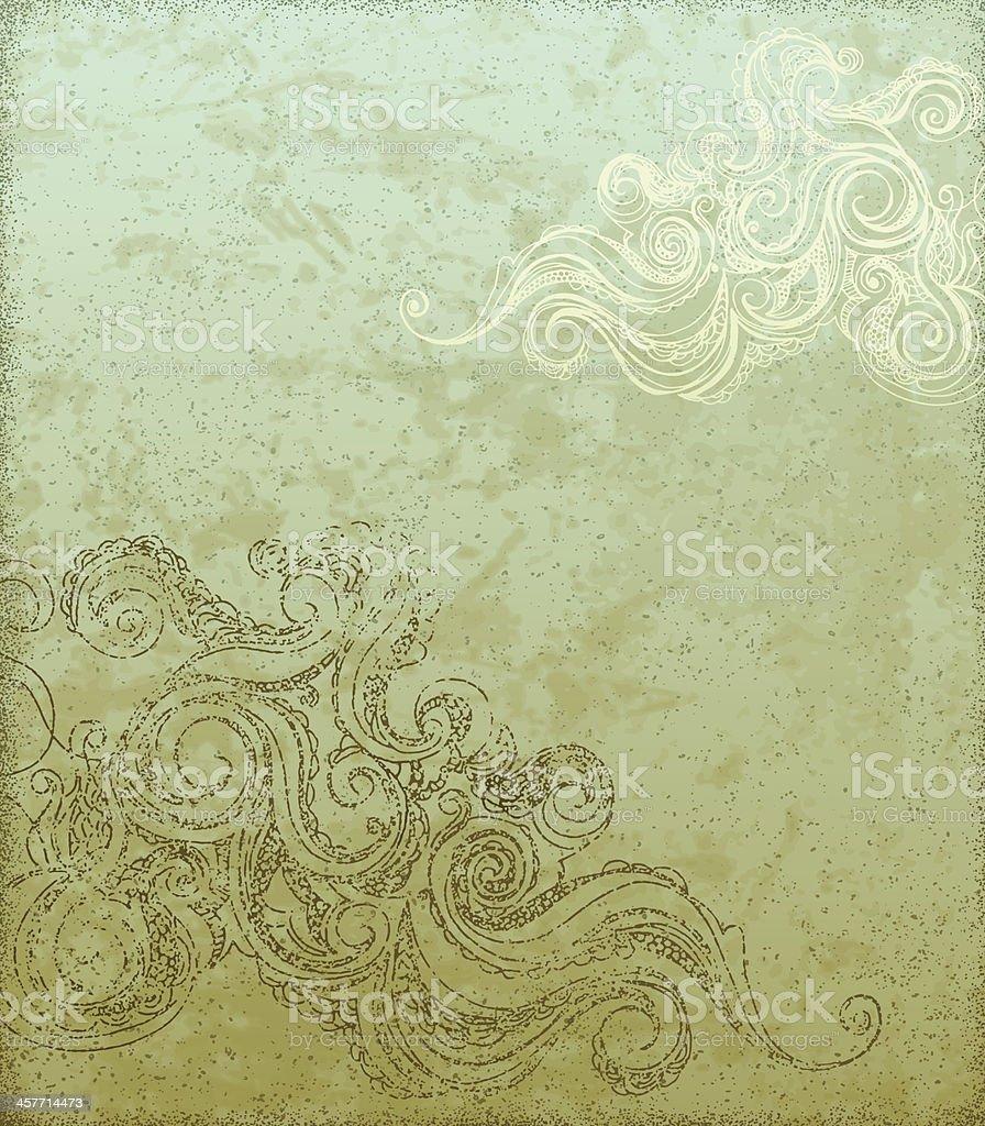 Grunge Background with Swirls vector art illustration