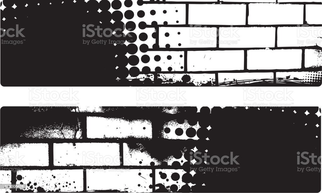 Grunge banner with brick wall background royalty-free stock vector art