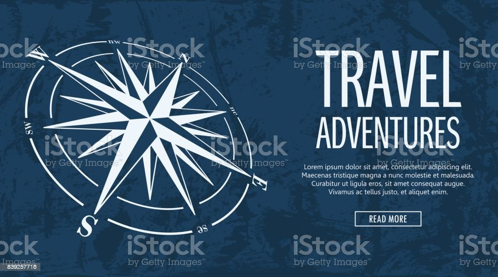 Grunge banner with compass rose vector art illustration