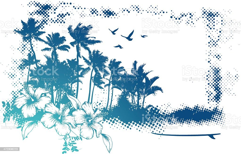 grunge banner with lot of palms royalty-free stock vector art