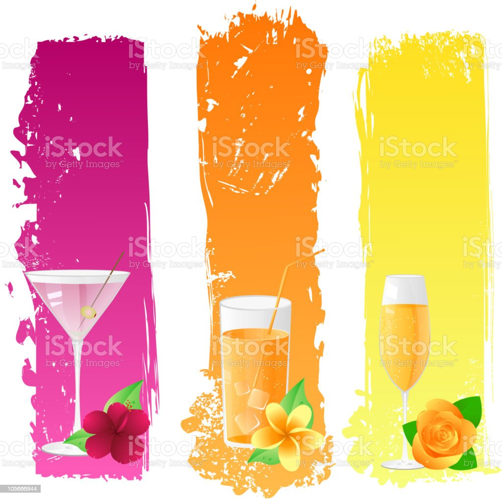 Grunge banners with drinks and flowers vector art illustration
