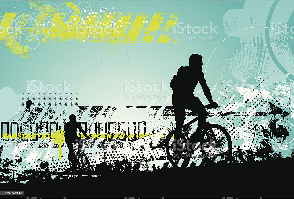 Grunge bikers vector art illustration