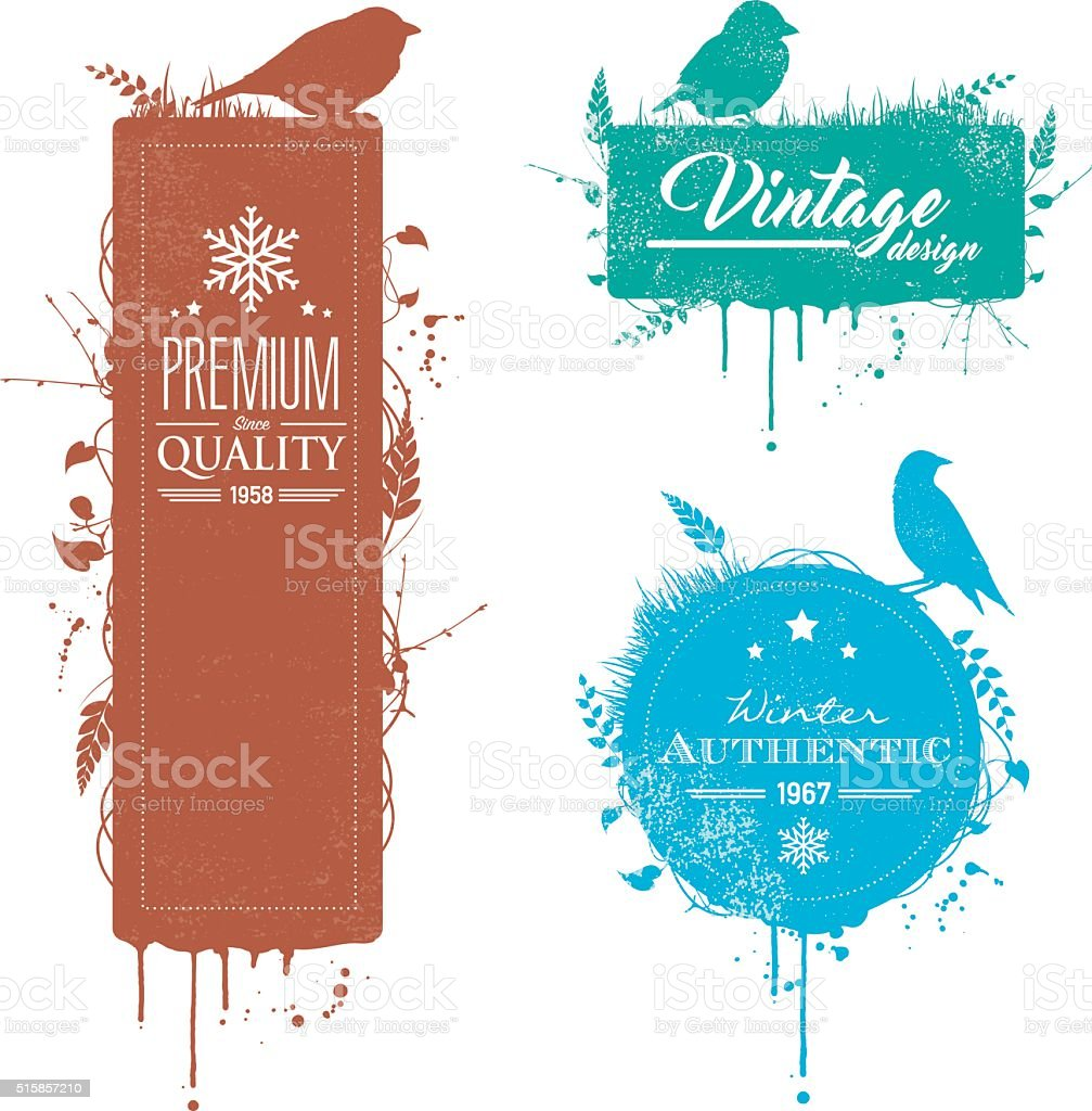Grunge bird banners with text vector art illustration