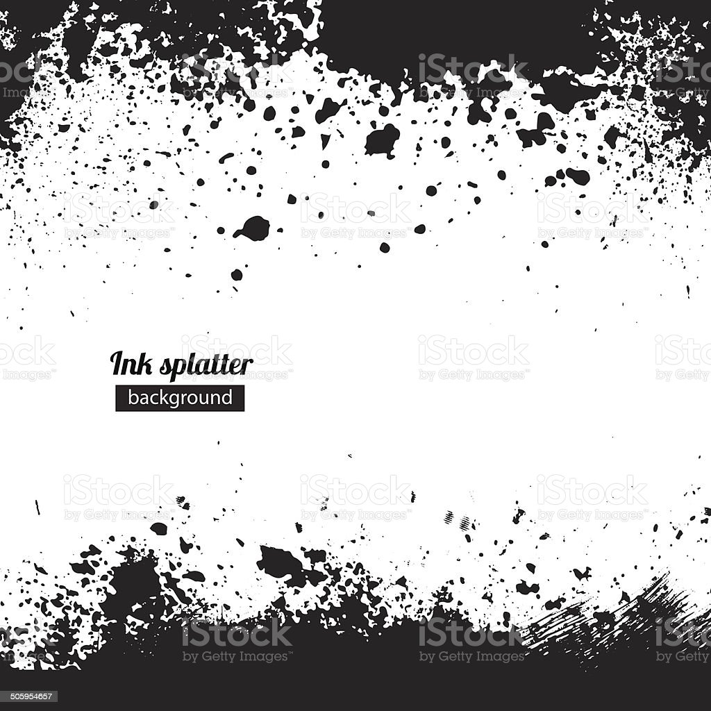 Grunge black ink splattered background vector art illustration
