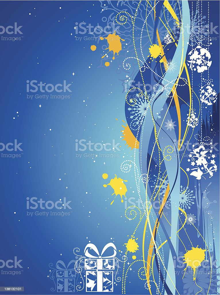 Grunge blue and yellow Christmas background royalty-free stock vector art
