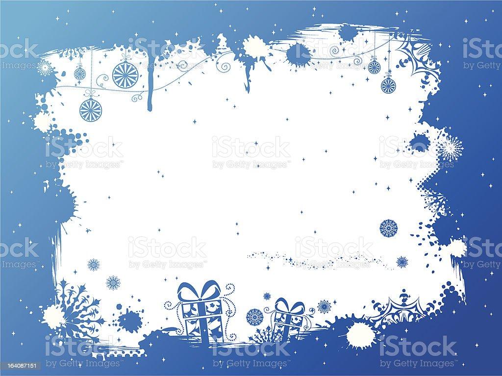 Grunge blue Christmas frame royalty-free stock vector art
