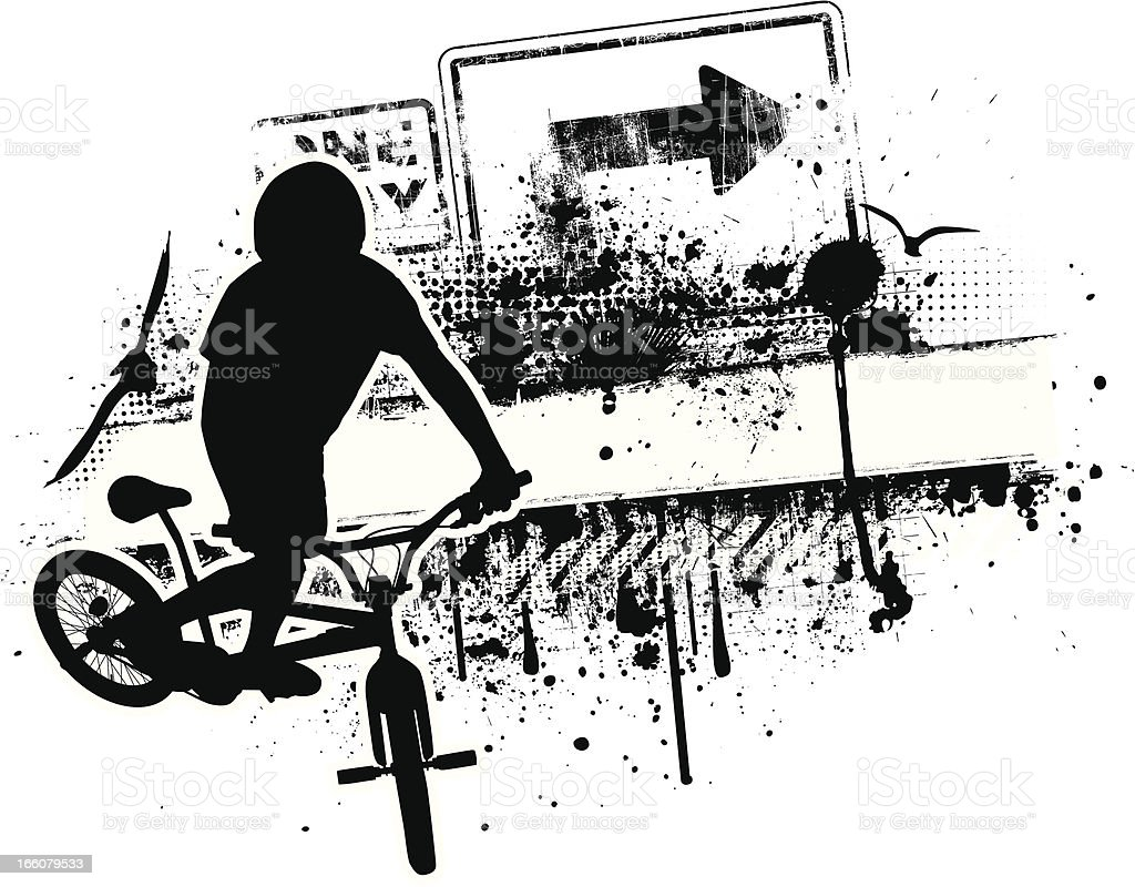 Grunge BMX Biker vector art illustration