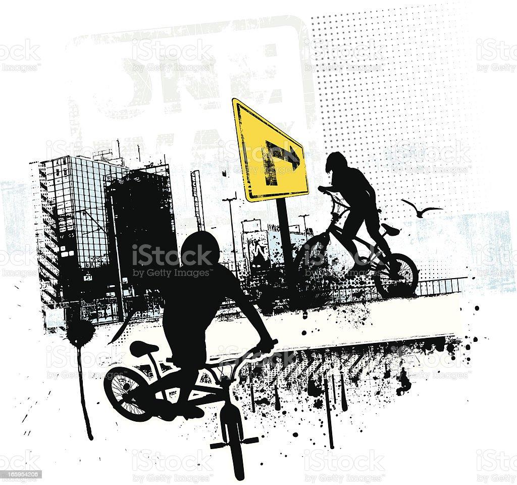 Grunge BMX Bikers royalty-free stock vector art