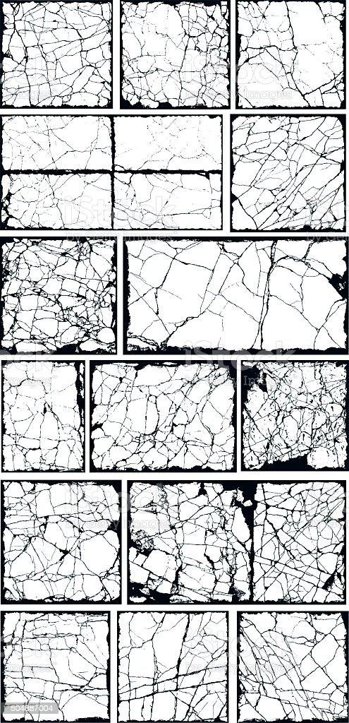Grunge border frames filled with cracks vector art illustration