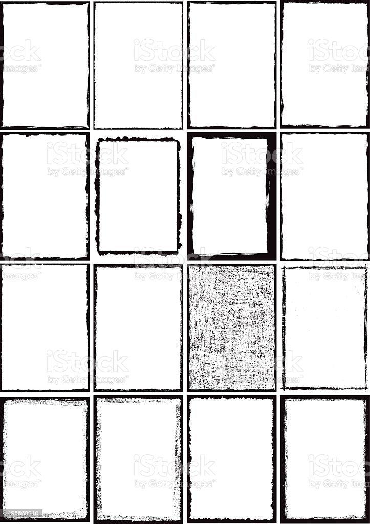 Grunge border frames vector art illustration