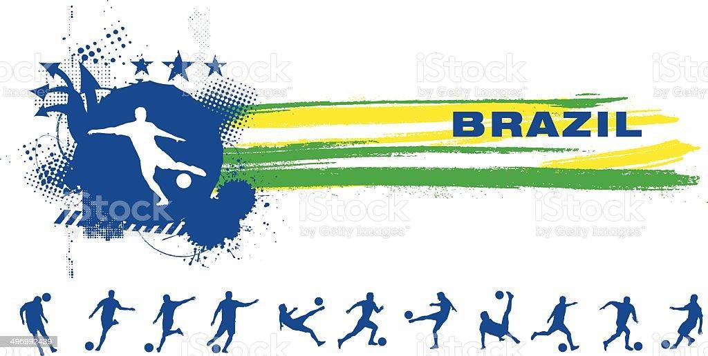 grunge brazil soccer banner vector art illustration
