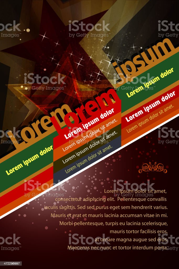 Grunge Brochure Background with Stars royalty-free stock vector art