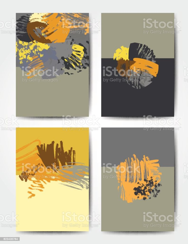 Grunge brush postcards vector art illustration