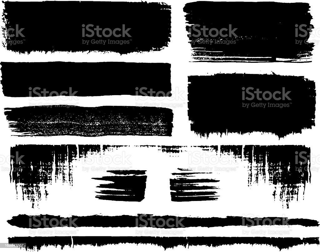 grunge brush set vector art illustration