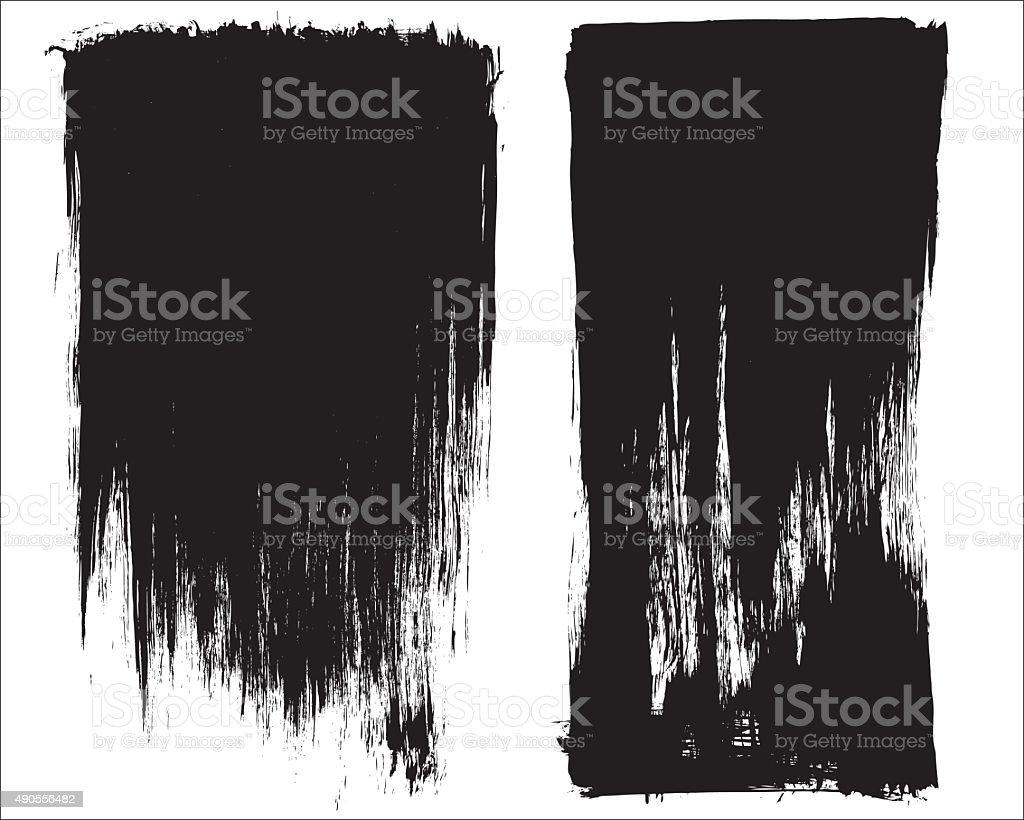 Grunge brush stroke background frames vector art illustration