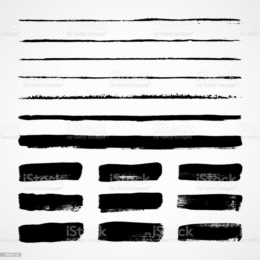 Grunge brush strokes vector art illustration