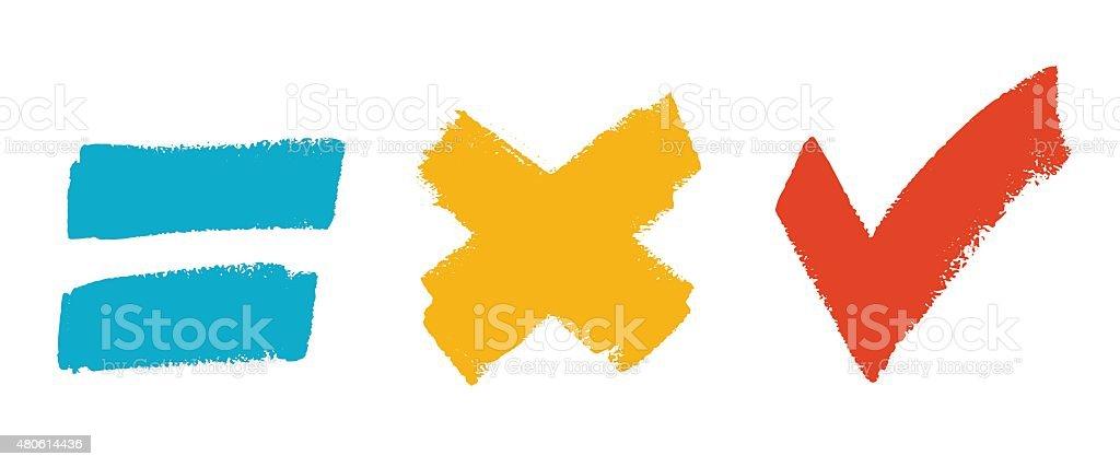 Grunge brush symbol set vector art illustration