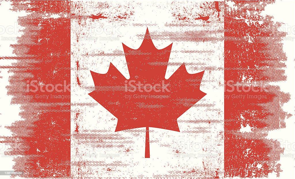 Grunge canadian flag vector art illustration