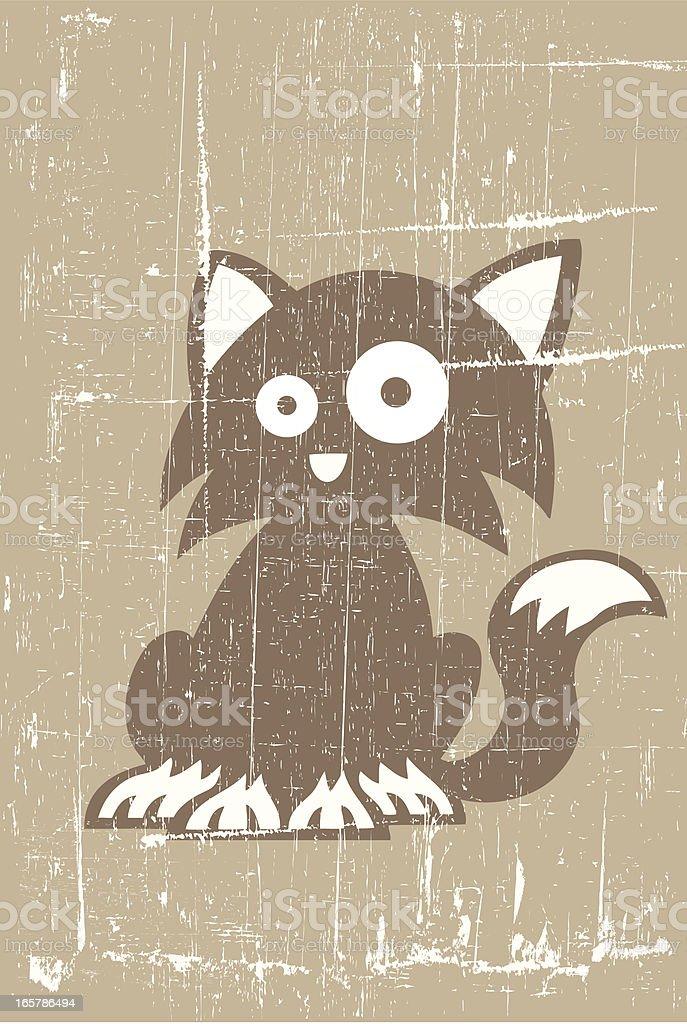 Grunge Cat vector art illustration