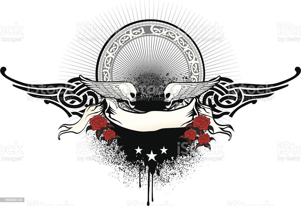 grunge celtic frame with winge skulls royalty-free stock vector art