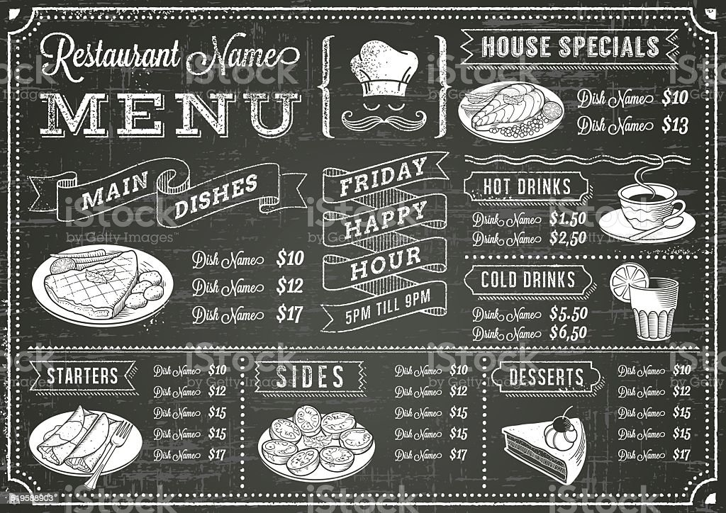 Grunge Chalkboard Restaurant Menu Template vector art illustration
