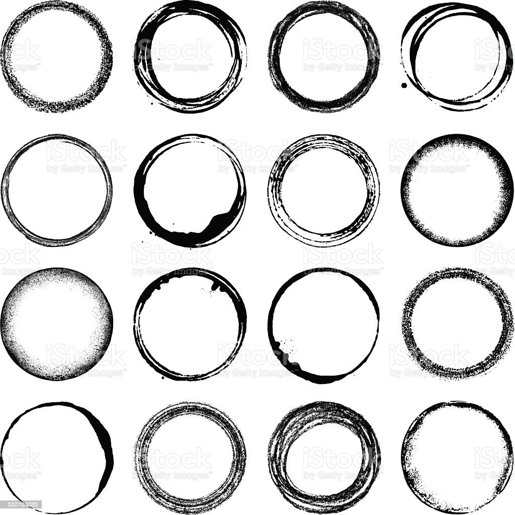 Grunge circles vector art illustration