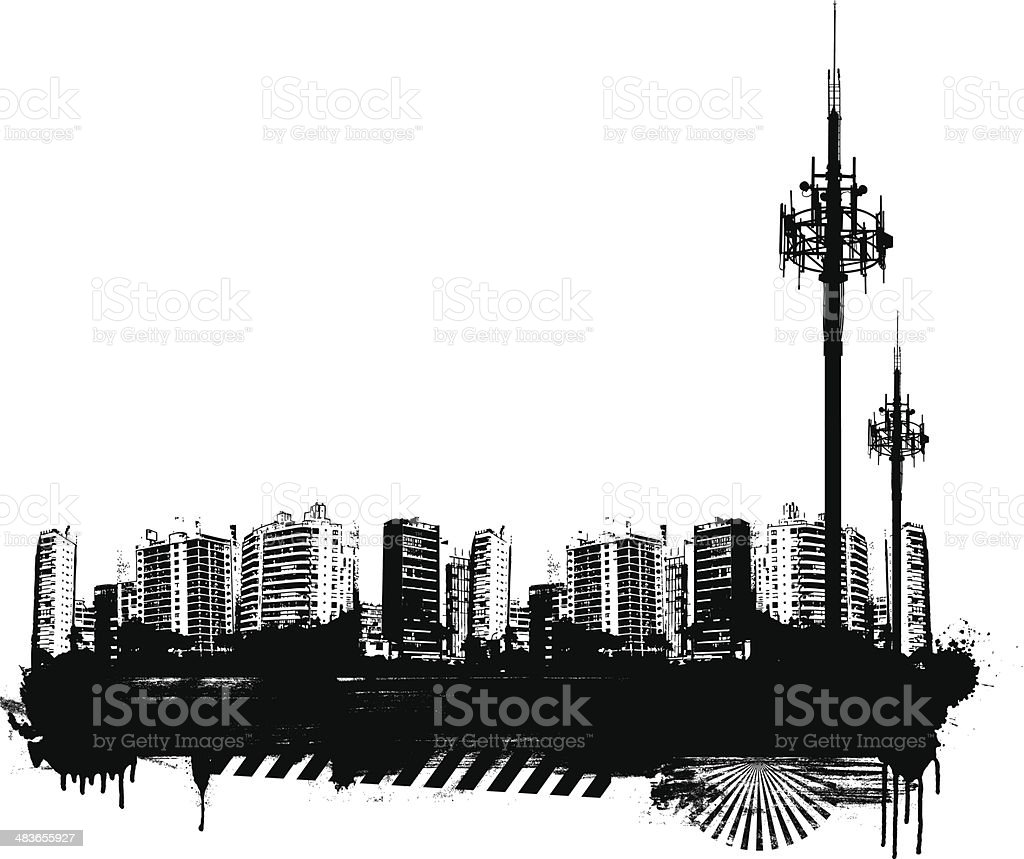 grunge city background with antenna royalty-free stock vector art