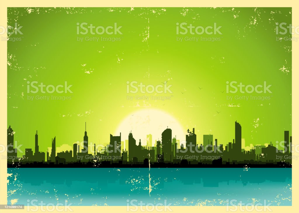 Grunge City Landscape royalty-free stock vector art