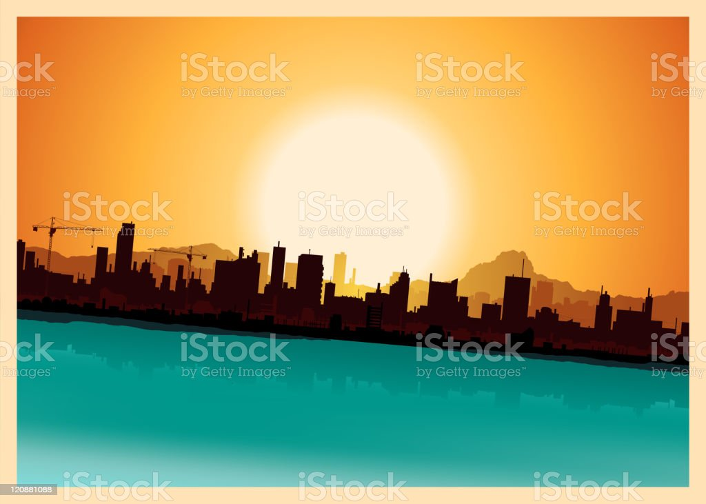 Grunge City Mountains Landscape vector art illustration