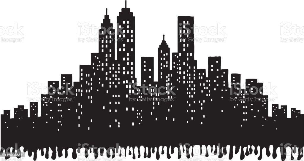 Grunge City Skyline silhouette illustration vector art illustration