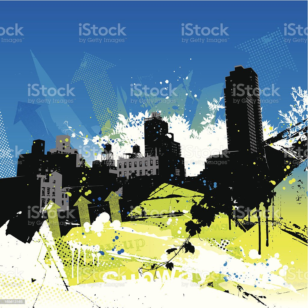 Grunge city vector art illustration