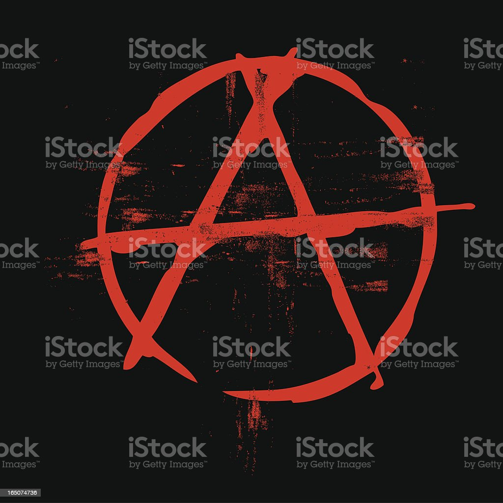 Grunge classic anarchy symbol in black and red colors royalty-free stock vector art