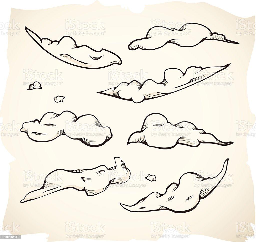 Grunge Clouds Illustrations or Sketches vector art illustration