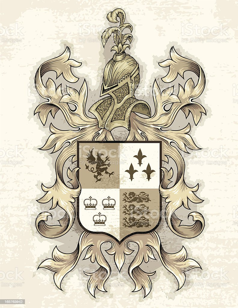 Grunge Coat Of Arms vector art illustration