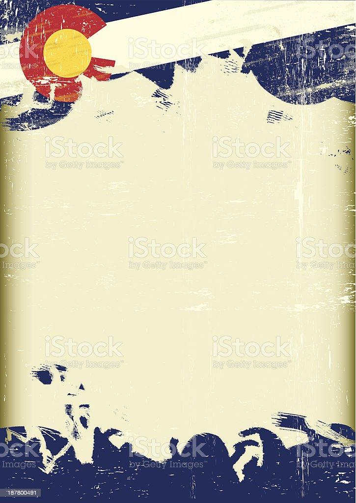 Grunge Colorado flag vector art illustration