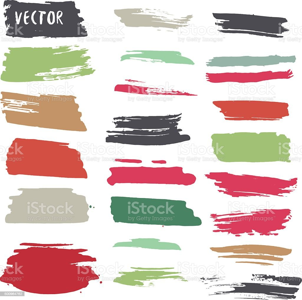 Grunge colorful ink paint strokes. Vector design elements collection vector art illustration