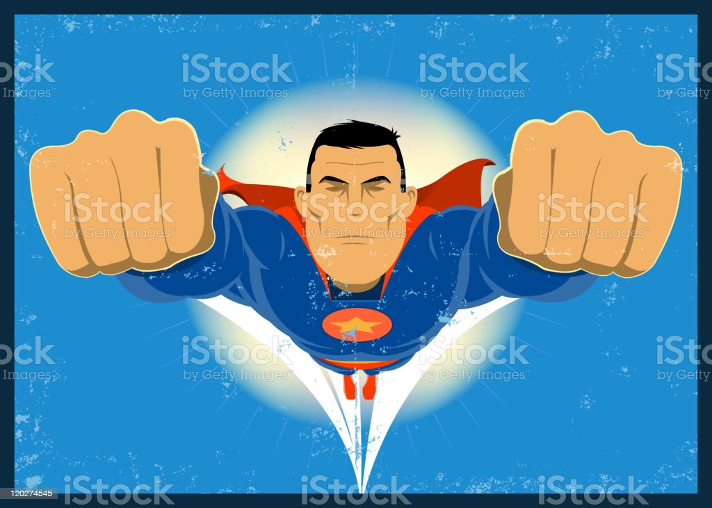 Grunge Comic-like Super-Hero royalty-free stock vector art