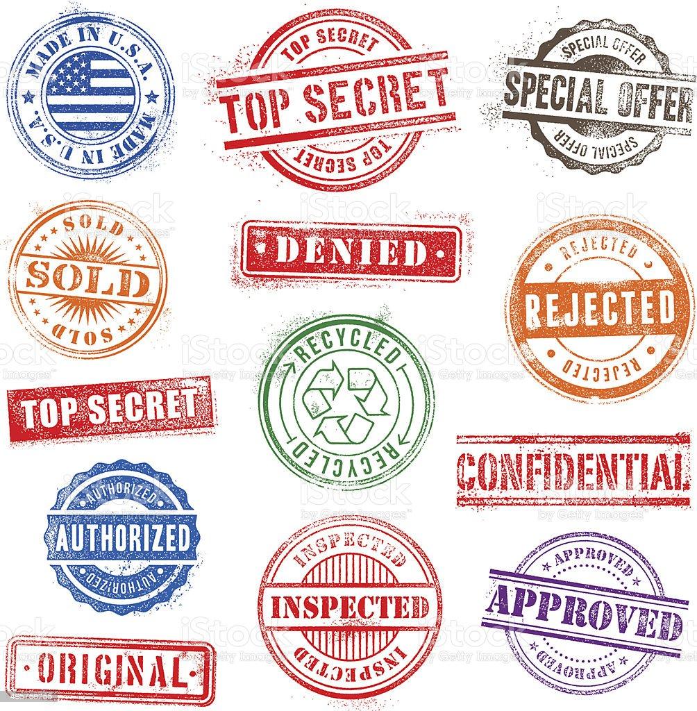Grunge Commercial Stamps vector art illustration