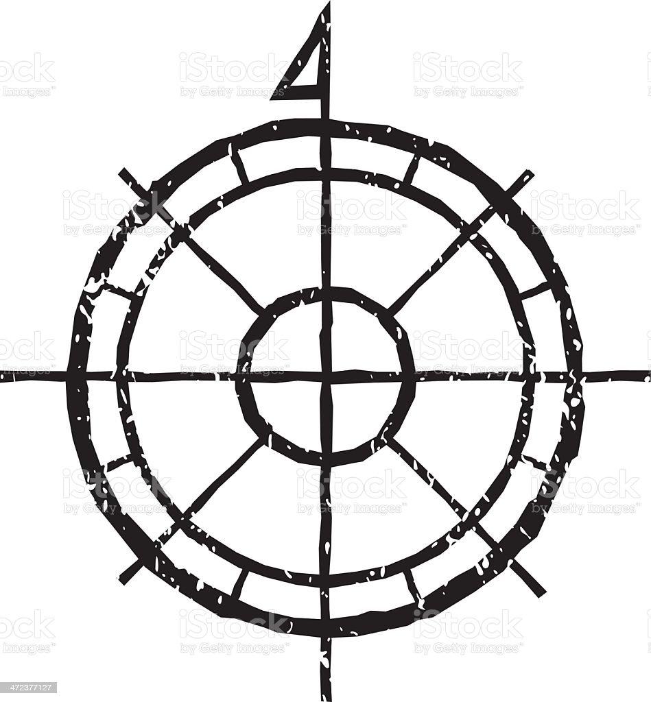 Grunge Compass Rose vector art illustration