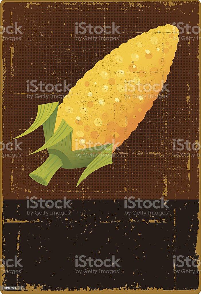 Grunge Corn on the Cob Sign vector art illustration