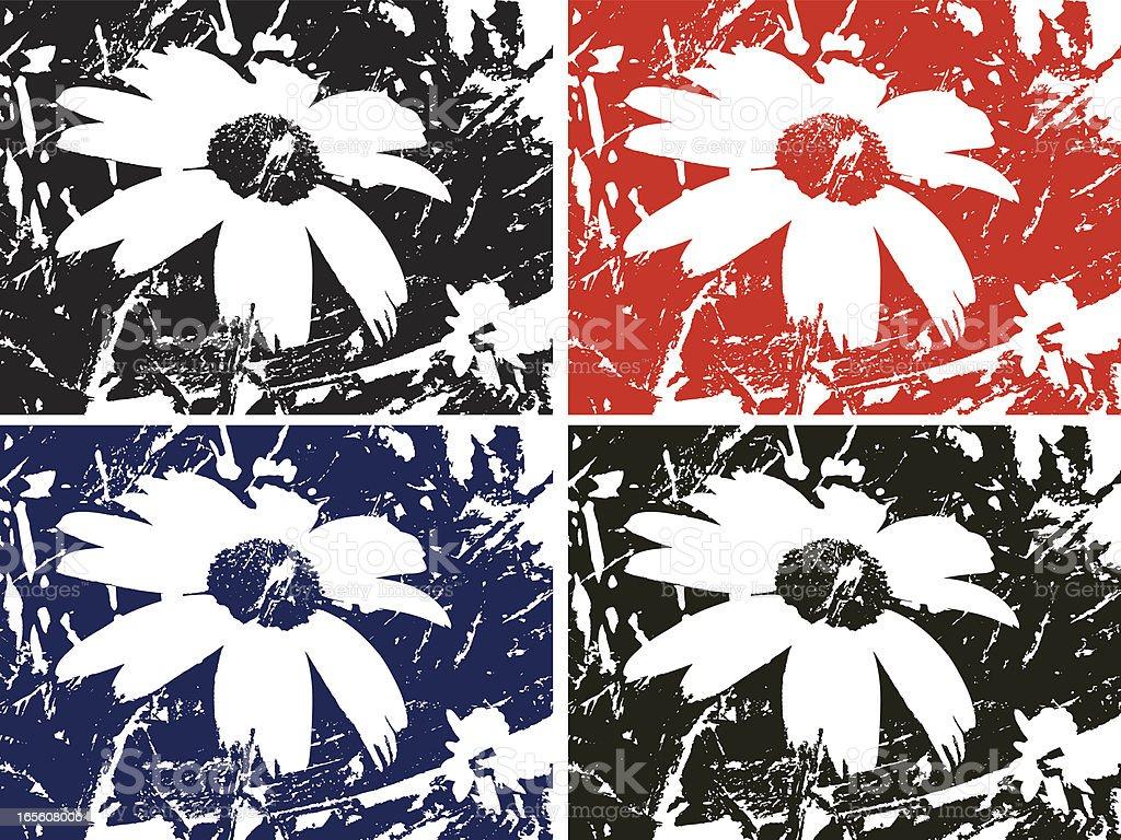 grunge daisy vector art illustration